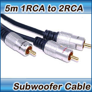 5m Subwoofer Cable 1 RCA Male to 2 RCA Male Audio 1RCA to 2RCA 2 Way Y Splitter