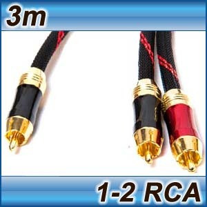 Ultra Premium Subwoofer Cable 1RCA to 2RCA 3m 8mm Thick