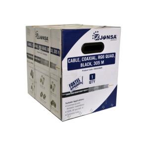 Jonsa RG6 Quad Shield Coaxial Cable 305m Reelex Box Foxtel Approved CRG6UBQ