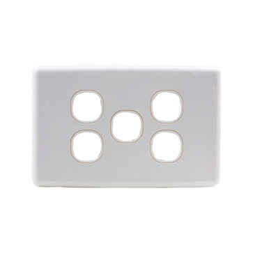 Amdex Custom 5 Gang Wall Plate with Full Cover White WPC-5