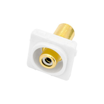 RCA White Female Recessed to F Type Female Wall Plate Insert