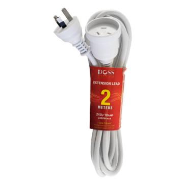 Doss Power Extension Lead 2m White EXL2M