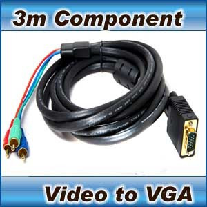 3m 3 RCA Component Video to VGA cable- laptop tv pc