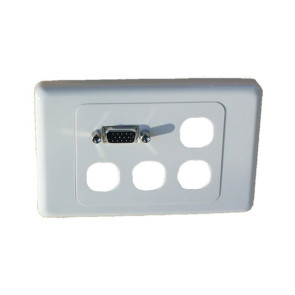 Amdex 4 Gang Wall Plate + VGA Female & 4 Blank Inserts
