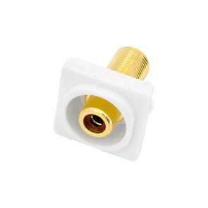 RCA Red Female Recessed to F Type Female Wall Plate Insert