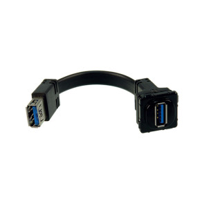 Digitek USB 3.0 Wall Plate Insert Black (with Tail) 05BC7TBK