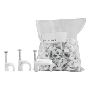 Cable Clip 6mm White to suit RG59 100 Pack 6RCCW