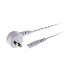 IEC C7 Figure 8 Socket to 2 Pin Right Angle Mains Power Lead White 2m