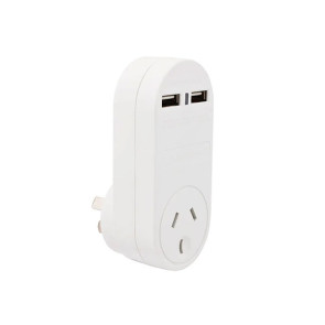 Cabac Single Power Outlet with 2 USB Ports PB1USB2